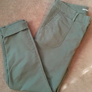 Army green crop pants
